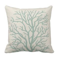 Coral Tree in Seafoam Green Throw Pillow Green Throw Pillows, Velvet Pillows, Diy Pillows, Diy Pillow Covers, Decorative Pillow Cases, Pillow Inserts, Diy Projects Cans, Pillow Protectors, Best Pillow