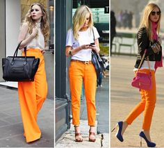 Never thought I would have liked orange pants, but I love all 3 looks (hello again, fantasy Celine work bag!)