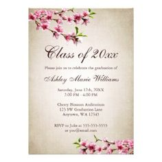 Pink Cherry Blossoms against a vintage tan background  decorate this elegant graduation invitation card