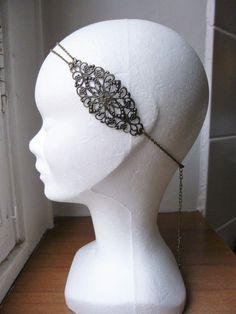 Headband - Bijou de tête - style retro Années Folles 1920's estampe fleur bronze : Accessoires coiffure par les-bijoux-d-aki