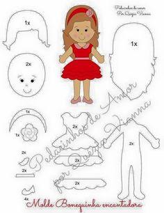 Eu Amo Artesanato: Bonequinhas de feltro com molde