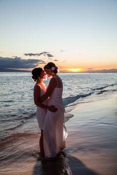 Sexy lesbian wedding photography on beach in Hawaii. #samesex #lesbian #wedding #beach #sexy