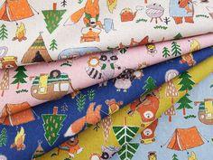 ▲綿麻 - 商品詳細 綿麻プリント みんなでキャンプ 110cm巾/生地の専門店 布もよう