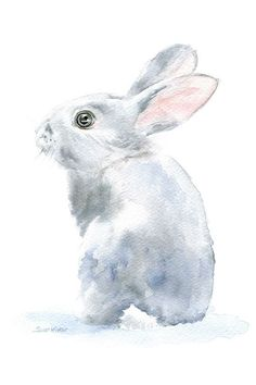 Gray Bunny Rabbit watercolor giclée reproduction. Portrait/vertical orientation. Printed on fine art paper using archival pigment inks. This quality printing allows over 100 years of vivid color in a