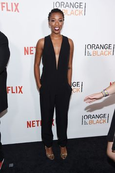 Samira Wiley Jumpsuit - Samira Wiley looked subtly sexy at the New York premiere of 'Orange is the New Black' in a sleeveless jumpsuit with a down-to-there neckline.