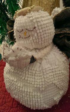 Handmade Vintage Hobnail White Chenille Bedspread Snow Angel Snowman Christmas