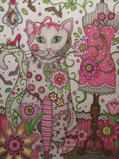 Creative Cats by Marjorie Sarnat colored in prismacolors