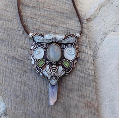 Peridot Blue Kyanite and Celestite Necklace Pendant