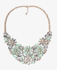 Bejeweled Flower Bib Necklace | FOREVER 21 - 1018076338