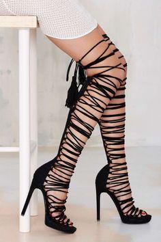 Suede Wrap Heel