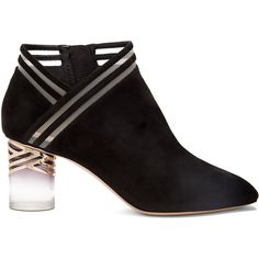 Nicholas Kirkwood Zaha Perspex-heel suede ankle boots (€940) ❤ liked on Polyvore featuring shoes, boots, ankle booties, black, suede booties, black suede ankle booties, clear heel booties, short black boots and black boots