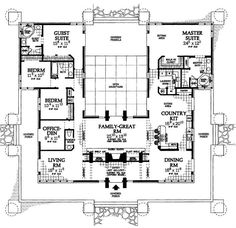 Craftsman home plan featuring: Unique design with open courtyard in the middle, there is a guest suite and all other bedrooms are apart from the master for added