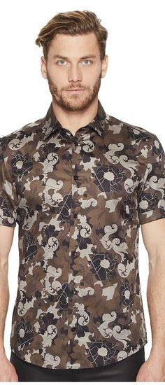 Versace Collection Short Sleeve Button Down (Militaire) Men's Short Sleeve Button Up - Versace Collection, Short Sleeve Button Down, V300243-VT01499-V7075, Apparel Top Short Sleeve Button Up, Short Sleeve Button Up, Top, Apparel, Clothes Clothing, Gift, - Street Fashion And Style Ideas