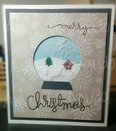 Christmas snow crystal ball card
