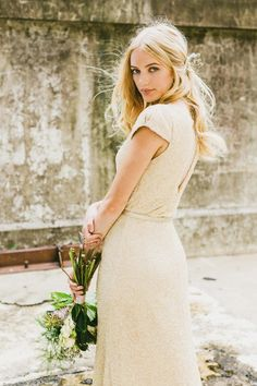 INDUSTRIAL WEDDING STYLING FROM HOPE & LACE | GOWN BOUQUET HAIR SEQUIN
