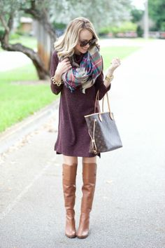 SWEATER DRESS AND BLANKET SCARF... - Get this look: http://lmz.co/BxXccS
