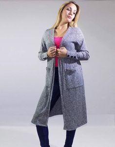Saco Gris Largo (Ana Reina) $599.00 Duster Coat, Jackets, Fashion, Sacks, Wraps, Gray, Sleeves, Down Jackets, Moda