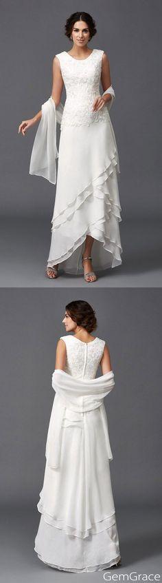 older bride wedding dress chiffon a line scoop neck ankle length with lace se041 149 gemgracecom