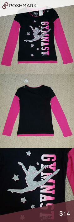Justice Longsleeve Gymnastics Shirt 60% Cotton / 40% Cotton  Brand new with tags, this long sleeve shirt is so adorable. The picture on front of the shirt has glitter on it. If your gymnast loves, Justice and sparkle, then this would make an awesome present for her. Never worn since my daughter out grew it before wearing it. No rips, stains or tears.  * Shipsout next day  / Bundle to Save 15%* Justice Shirts & Tops Tees - Long Sleeve