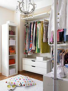 Simple walk-in closet Stolmen Ikea Small Dressing Rooms, Dressing Room Closet, Closet Bedroom, Closet Space, Walking Closet, Walk In Closet Design, Closet Designs, Ikea Closet Organizer, Closet Organization