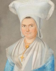 pastel of a Normandy woman with her coiffe and cross