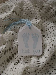 Baby Boy Footprints Thank You Tags Handmade by GoldenNestStudio, $4.50