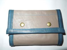 UNIQUE Genuine leather wallet handmade. Blue and grey by BellyPork, €36.00