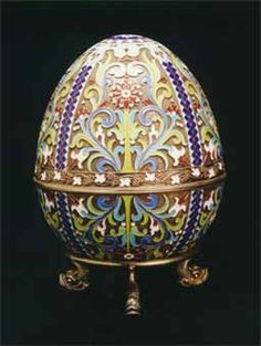 Fabergé Style Egg with Stand -   Enameled Silver