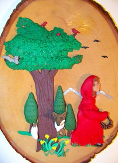 SALE  Little Red Riding Hood 3D Clay Art on Wood by AnnetteBailey