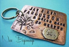 a bit of modern rustic bohemian style lends to the Personalized handstamped Key Chain - Beginnings just perfect for the newly married couple, or the first time parents, or graduate moving away,  as well as a family-tree keychain, you choose personalization -  by deborahmcgovern, $21.00