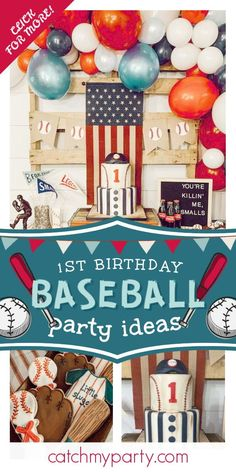 Check out this amazing vintage baseball-themed 1st birthday party! You are so going to love the cookies! See more party ideas and share yours at CatchMyParty.com#catchmyparty #partyideas #vintagebaseballparty #baseball #baseballparty #boy1stbirthday Vintage Baseball Party, Vintage Party, Basketball Party, Sports Party, 1st Birthday Parties, Boy Birthday, Baseball First Birthday, Shabby Chic Cakes, Party Themes