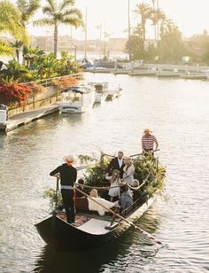 Italian inspired elopement ceremony on a gondola in Long Beach, California at sunset