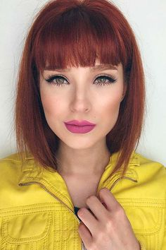 25 Top Hairstyles for Bob Haircuts With Bangs - Reny styles Red Hair With Bangs, Short Red Hair, Short Hair Cuts, Short Hair Styles, Hair Styles For Medium Hair With Bangs, Stacked Bob Hairstyles, Bob Hairstyles With Bangs, Bob Haircuts, Bob Bangs