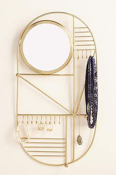 Jewelry Storage Anthropologie Idris Jewelry Organizer - Featuring plenty of hooks and a built-in mirror, this handcrafted piece organizes and displays your most-loved jewelry. Jewelry Stand, Jewelry Holder, Jewelry Box, Jewelry Accessories, Jewelry Making, Necklace Holder, Jewelry Tree, Earring Holders, Jewelry Crafts