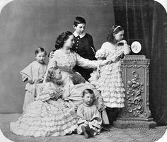 "Grand Duchess Alexandra Iosifovna Romanova of Russia,born Princess Alexandra of Saxe-Altenburg with her eldest children.Grand Duke Nikolai (1850-1918),Konstantin (1858-1915), Dimitri (1860-1919), and Grand Duchesses Olga (1851-1926) and Vera in 1863.   ""AL"""