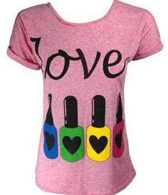 Love Nail Polish T-Shirt: Pink. (Click through for Clothing For Nail Lovers)