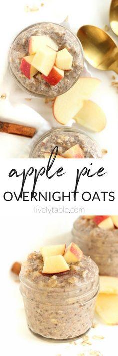 Apple Pie Overnight Oats are the perfect healthy, easy and delicious breakfast to kick off fall! Only 5 minutes of prep the night before lets you wake up to this cozy breakfast. (#glutenfree, #vegetarian)  #applepie #overnightoats #makeahead  via livelytable.com