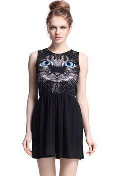"ROMWE | Sleeveless ""Cat Face"" Black Dress"