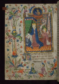Amherst Hours, The Annunciation, with angels playing music, Walters Manuscript W.167, fol. 13v | by Walters Art Museum Illuminated Manuscripts