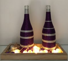 Wrapped bottles Purple/Silver with lights X-mas