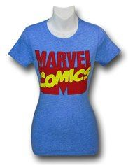 Marvel Comics Logo on Blue Women's T-Shirt