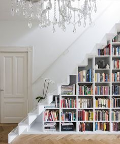 Funny pictures about Under stairs bookcase. Oh, and cool pics about Under stairs bookcase. Also, Under stairs bookcase photos. Staircase Bookshelf, Stair Shelves, Book Stairs, Staircase Storage, Bookshelf Ideas, Modern Staircase, Unique Bookshelves, Bookshelf Design, Bookshelf Storage