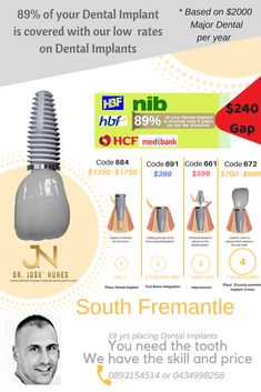 The Best Dental Implant Clinic in Perth. Dental surgery is his passion and he has spent many years mastering dental implant placements. Dental Cover, Affordable Dental Implants, Financial Peace, Dental Services, Peace Of Mind, Things To Know, Perth, Gap, Minimal