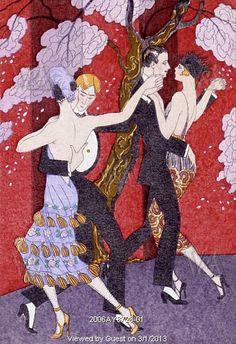 Les Fureurs du Tango, from La Guirlande des mois Almanach, by Georges Barbier. Paris, France, early 20th century