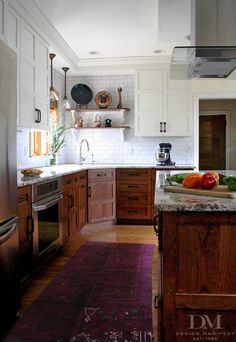 design manifest kitchen stained wood base white wall cabinets - Love this…
