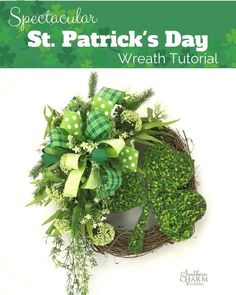 Learn how to make this festive St. Patrick's Day wreath from Julie Siomacco, of Southern Charm Wreaths.  Step by step instructions, along with a VIDEO demonstration, will guide you through the wreath making process!  You will love this spectacular St. Patrick's Day Wreath Tutorial.