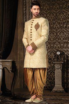 Yellow Silk IndoWestern Sherwani-IW751