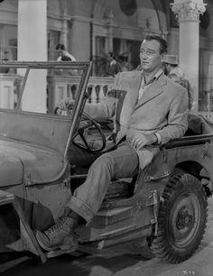 John Wayne in automobile Premium Art Print