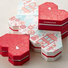heart boxes - Valentine's Day Packaging & Visual Design for Starbucks Korea Gift Box Packaging, Food Packaging Design, Custom Packaging, Packaging Design Inspiration, Coffee Packaging, Bottle Packaging, Starbucks Valentines, Valentines Day Package, Visual Communication Design