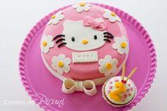 Decoración de torta y cupcake de Hello Kitty de cumpleaños